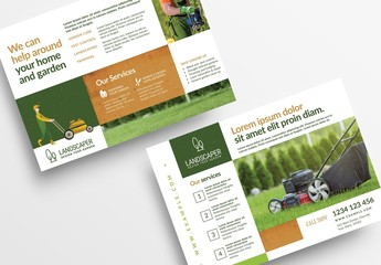 Flyer Layout with Gardening Illustration Elements