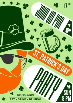 St. Patrick's day poster design template with hipster Leprechaun. Vector illustration