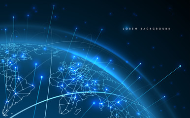 World map network connection lines background Wall mural