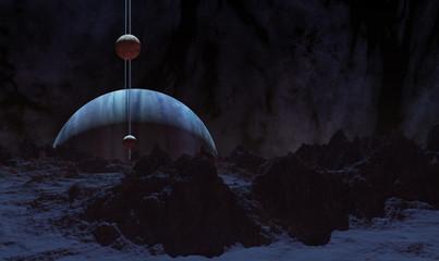 8K Ultra HD 3D Illustration of Neptune rising