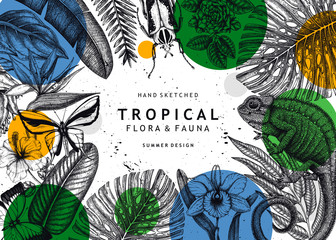 Tropical banner design. Vector frame with hand drawn tropical plants, exotic flowers, palm leaves, insects and chameleon. Vintage wildlife background. Summer template with tropical plants and animals. Wall mural
