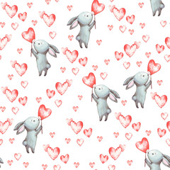 Cute Bunny. Seamless Pattern with rabbit. Funny cartoon characters with hearts isolated on a white background. Watercolor illustration for a print, postcard, poster for Valentine's day, February 14.