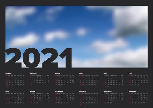Dark calendar template for the year 2021