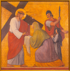 Wall Mural - PRAGUE, CZECH REPUBLIC - OCTOBER 17, 2018: The painting Veronica wipes the face of Jesus in the church kostel Svatého Cyrila Metodeje by  S. G. Rudl (1935).