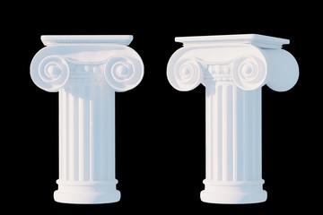 White ancient column isolated black mask, roman or Greek pillar pedestal, 3d rendering
