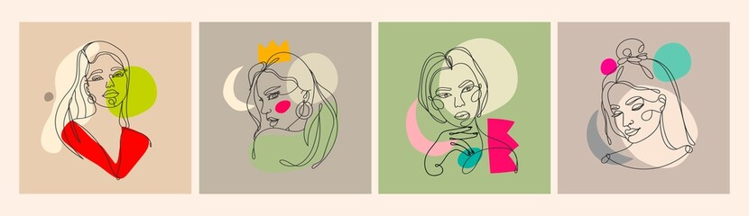 Wall Mural - Set of four Modern abstract faces. Contemporary outline female silhouettes. Colored spots. Hand drawn outline trendy vector illustrations. Continuous line, minimalistic concept. Pastel colors