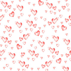 Artistic seamless pattern with watercolor hand drawn hearts isolated on white background. Paint drawing. Good for Valentine day card design, package paper. Love and romantic theme.