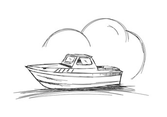 hand drawn yacht. scribble boat illustration