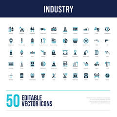 50 industry concept filled icons