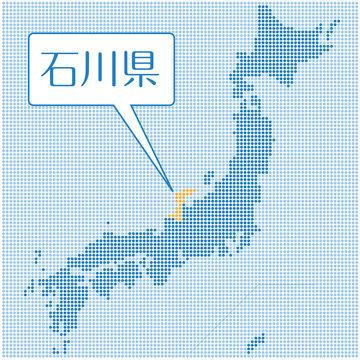 ドット描写の日本地図のイラスト 石川県|47都道府県別データ:グラフィック素材