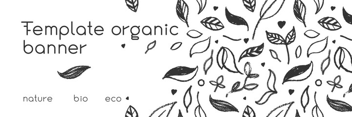 Organic food background for eco store. Eco-friendly icons set. Natural logo elements. Bio labels. Organic banner template for healthy design. Vector leaves pattern seamless. Agriculture growth logo. Wall mural