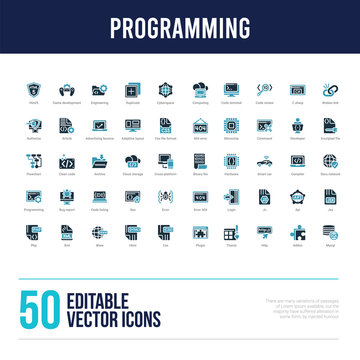 50 programming concept filled icons