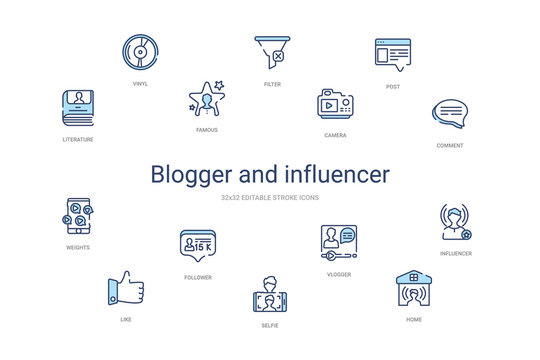 blogger and influencer concept 14 colorful outline icons. 2 color blue stroke icons