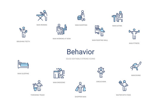 behavior concept 14 colorful outline icons. 2 color blue stroke icons