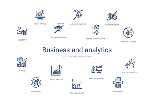 business and analytics concept 14 colorful outline icons. 2 color blue stroke icons