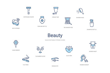 beauty concept 14 colorful outline icons. 2 color blue stroke icons