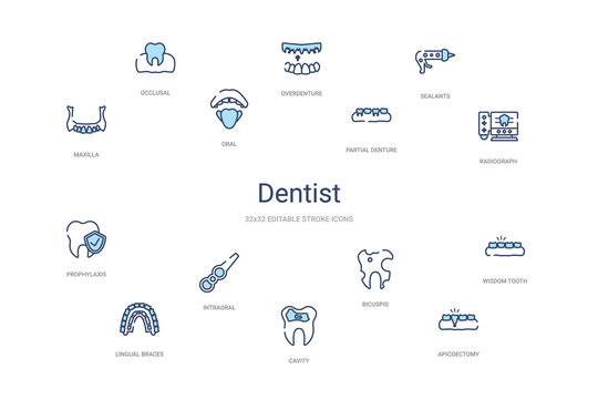 dentist concept 14 colorful outline icons. 2 color blue stroke icons