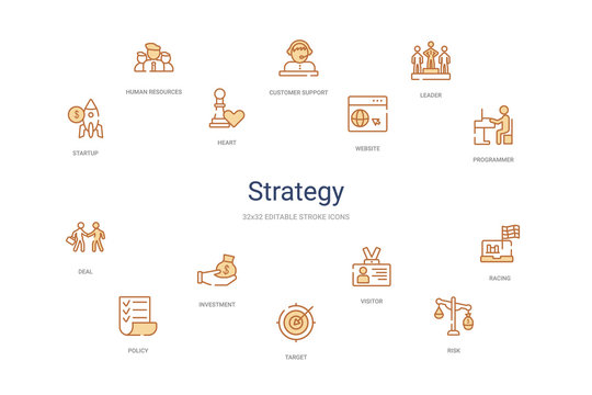strategy concept 14 colorful outline icons. 2 color blue stroke icons