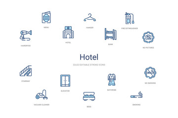 hotel concept 14 colorful outline icons. 2 color blue stroke icons
