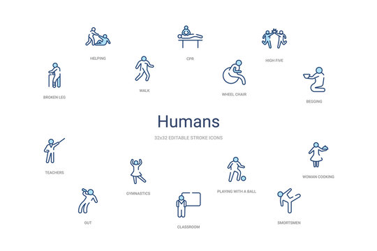humans concept 14 colorful outline icons. 2 color blue stroke icons