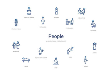 people concept 14 colorful outline icons. 2 color blue stroke icons