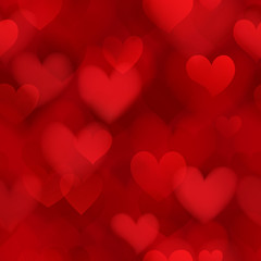 Seamless pattern of translucent blurry hearts in red colors. Illustration on Valentine's day