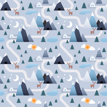 Winter landscape background. Mountain and trees seamless design.
