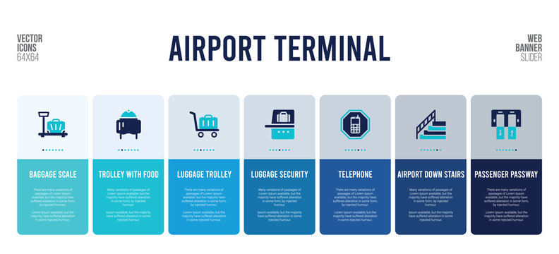 web banner design with airport terminal concept elements.