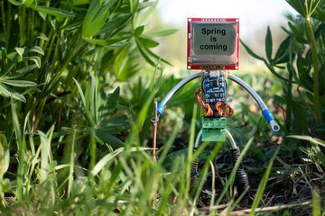 micro robot in spring nature