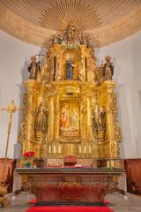 PALMA DE MALLORCA, SPAIN - JANUARY 29, 2019: The carved polychrome altar in church Esglesia de la Inmaculada. Concepcion.