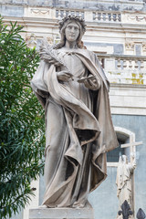 Wall Mural - CATANIA, ITALY - APRIL 7, 2018: The statue of St. Rosalia in front of Basilica di Sant'Agata.