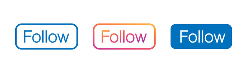 Follow button, color gradient isolated counter notification. Social media background. Follow logo, image, jpeg, symbol, sign, ui. Vector illustration.