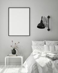 mock up poster frame in modern interior background, bedroom, Scandinavian style, 3D render, 3D illustration
