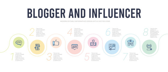 blogger and influencer concept infographic design template. included influencer, home, vlogger, selfie, follower, like icons