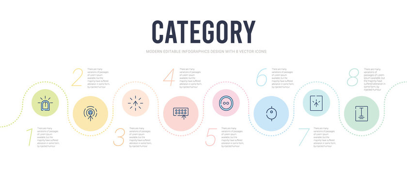 category concept infographic design template. included word, select, scroll, hold, typing, busy icons