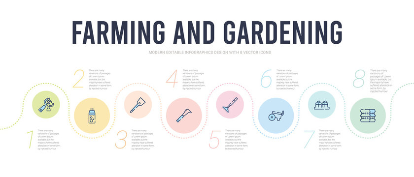 farming and gardening concept infographic design template. included barrell, bale of hay, trailer, hoe, billhook, digging bar icons