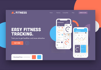 Purple Website Landing Page Layout with Fitness App Illustrations
