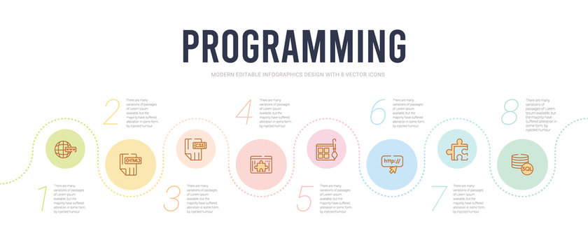 programming concept infographic design template. included mysql, addon, http, theme, plugin, css icons