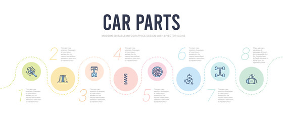 car parts concept infographic design template. included car catalytic converter, car chassis, choke, clutch, coil, connecting rod icons