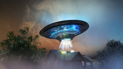 Keuken foto achterwand UFO ufo flying saucer over the house, 3D render