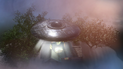 Photo sur Aluminium UFO ufo flying saucer over the house, 3D render