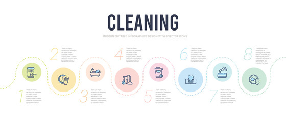 cleaning concept infographic design template. included sponges, garden hose, serviette, dumpster, carpet cleaning, bathtub cleaning icons