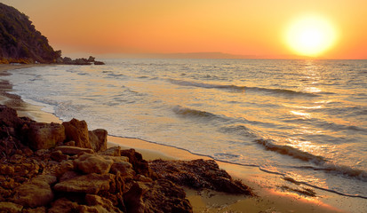 Amazing sunset over Ionian sea in Kyllini, west Peloponesse, Greece
