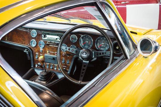 "STUTTGART, GERMANY - MARCH 18, 2016: Cabin of sports car Lotus Elan Plus 2 RHD, 1971. Europe's greatest classic car exhibition ""RETRO CLASSICS"""