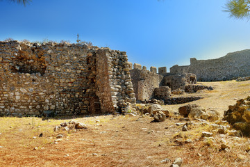 """Wall's of medieval Chlemoutsi (""""Clermont"""") castle in Greece, Peloponnese, Kyllini-Andravida"""