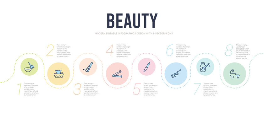 beauty concept infographic design template. included hair washer sink, serum, inclined comb, nail file, bobby pins, tweezers icons