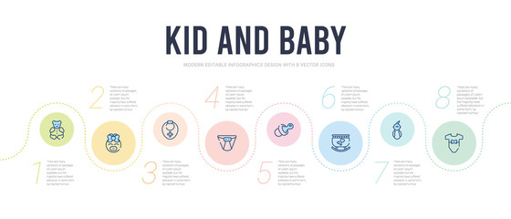 kid and baby concept infographic design template. included baby clothes, baby boy, cradle, pacifier, diaper, bib icons