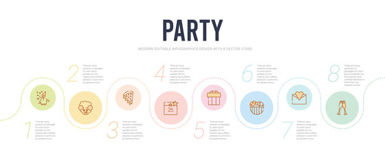 party concept infographic design template. included birthday toast, open envelope with heart letter, big ice cream bowl, giftbox with ribbon, calendar with date, pizza slice icons
