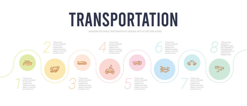 transportation concept infographic design template. included crop duster, cruiser, dirigible, dugout canoe, eco-friendly transport, eighteen-wheeler icons