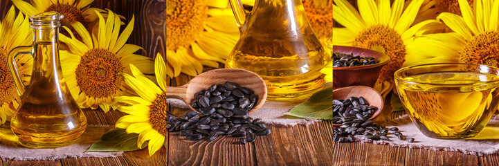 Papiers peints Tournesol Set rural still-lifes, banner - sunflower oil with flowers of sunflower (Helianthus annuus) against the background of an wooden wall, closeup